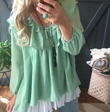 3X NWT Boutique Plus Size Ethereal Mint Tiered Ruffle Boho Blouse Top Women's