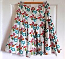 Gene Meyer Cream Skirt Size UK 16 Pleated Fit and Flare Modern Paisley Swirly