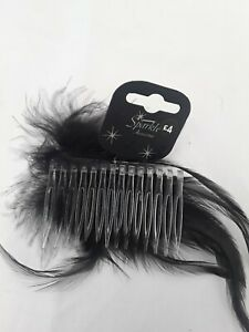 Feather Hair Comb clip Slider Sparkle accessories rrp £4.00 uk seller Express ☆☆