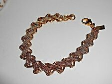 Very Pretty Monet Gold Plated Criss Cross Design Links Chain Bracelet, Signed