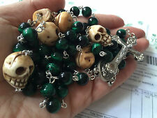 Rare green Tiger Eye Bead Bone Skull Rosary CRUCIFIX CATHOLIC NECKLACE CROSS