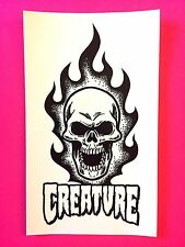 Creature Skateboards Sticker Skull Flame Deck Board NHS CSFU Decal Logo Thrasher