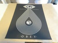 """2014 Obey Giant Shepard Fairey """" Earth Crisis """" BLK PRINT STREET PASTER POSTER"""