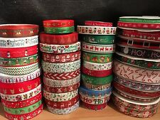 "Christmas Ribbon 3/8"" (10mm) 7/8"" (22m) 1"" (25mm) 1.5"" (38mm) Huge Selection!"