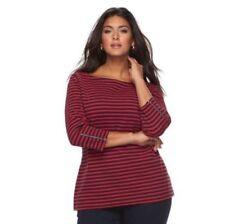 CROFT & BARROW Womens Plus Black Red Stripe Square Neck Zip Sleeves Top Size 1X
