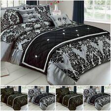 Luxury Damask Duvet Cover Bedding Set + Pillowcase Double King Super King Size