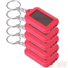 5x Red Solar Energy Powered Rechargeable LED Keychain Emergency Flashlight Lamp
