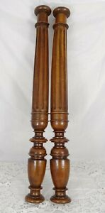 "25.5"" French Antique Pair Carved Wood Trim Posts Pillars Columns Walnut"