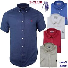 CAMICIA UOMO MANICA CORTA 100% LINO P-CLUB BOTTON DOWN 5 COLORI M L XL XXL 3XL