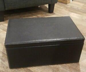 POTTERY BARN LARGE Black LEATHER BOX CD storage jewelry magazine pebbled