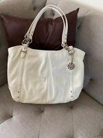 Coach 16231 Alexandra ivory Crinkle Patent Leather Shoulder Bag Handbag Tote