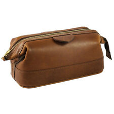 Daines and Hathaway Small Luxury Leather Rusty Blaze Washbag (3057-rusty-blaze)