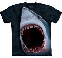THE MOUNTAIN  GREAT WHITE SHARK JAWS FISH  BIG FACE T SHIRT