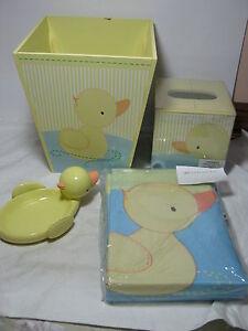 Tiddliwinks 4pc Bath Set Duckie Shower Curtain Trash Bin Soap Dish Tissue Box