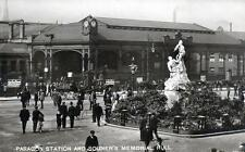 Hull Paragon Railway Station Soldier's Memorial RP old postcard used 1923