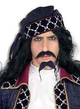 Fake Mustache Beard Facial Hair Caribbean Pirate Moustache Goatee Stache Black