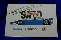 6 x 4 INDY 500 Post Card AUTOGRAPHED Signed by 2 time 500 Winner TAKUMA SATO
