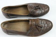 Mens brown tassel brown brazil  leather casual loafers earth shoes slip on 13
