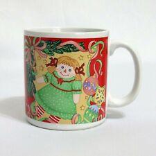 Christmas Coffee Mug 12 Ounce Ragdoll Ornaments Ribbons Sakura 1992