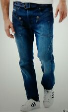 Mens HENLEYS Regular Jeans With Belt - Stonewash - W32 L32 RRP £59.99