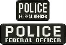 POLICE FEDERAL OFFICER embroidery Patches 3x10 and 3x5 hook on back
