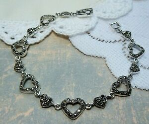 My S Collection 925 Sterling Silver & Marcasite Hearts Bracelet