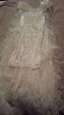 San Martin Intl. Bridal Ruffle WEDDING Gown Dress Long Train Sz 8 Vintage White