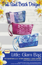 "LITTLE GLAM BAG Purse Sewing Pattern by Pink Sand Beach Designs 8.5"" x 5"" x 2"""