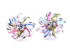 Orecchini in cristallo fiore di loto tono multicolori d'argento