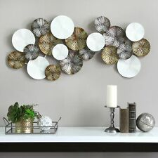 Modern Wall Art Hanging Decor Multicolor Handcrafted Metal Circles Disks Plates