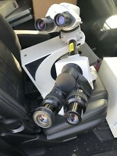 Leica DMLB Microscope and System GMBH Wetzlar with 6 Fluotar Objectives.