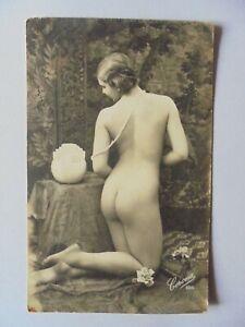 superbe cpa ancienne nue nu femme entièrement nue érotique authentique nude