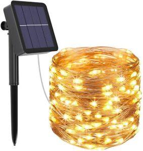 Solar Lichterkette 100 LED Solar Lichtschlauch Aussen Draht Garten Deko warmweiß
