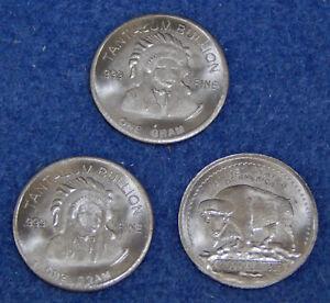 Lot (3) Central Metal Corp 1 Gram 999 Fine Tantalum Bullion Round Indian Buffalo