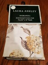 "Laura Ashley HYDRANGEA Floral Rod Pocket Panels Two 40""x 84""~ Blue, Brown,beige"