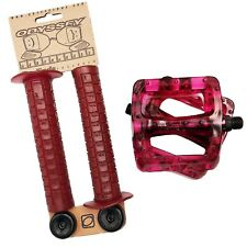 Odyssey Combo Aaron Ross Grips and  Twisted pedals Clear Strawberry! BMX