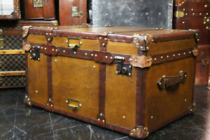 Tan Leather Coffee Table Chest Trunk with Antique leather Trim