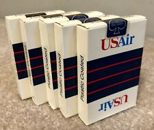 LOT OF 5 US Air USAIR Plastic Coated Playing Cards New Sealed Full Deck VINTAGE