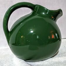 "Vintage Pottery Dark Green 7"" Pitcher w/Ice Cube  Lip U.S.A. Mold Mark"