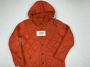 [PRE-OWNED] SUPREME QUILTED BUTTON DOWN UP HOODED SHIRT ORANGE L LARGE