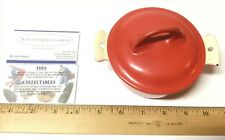 Vintage Erie Griswold Porcelain Iron Red & Cream Dutch Oven Dish No. 0 Nice!