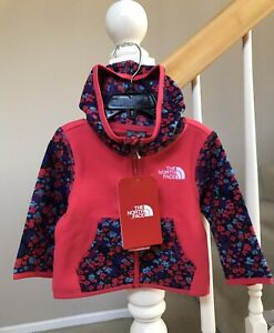 The North Face Baby Infant Girls Glacier Fleece Full Zip Hoodie Pink Size 3-6M