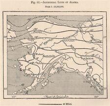 Isotérmico líneas de Alaska 1885 cuadro de plan de Mapa Antiguo Vintage Antiguo