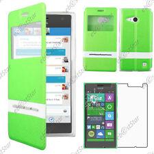 Housse Coque Etui S-View Flip Cover Vert Nokia Lumia 735 730 dual + Verre