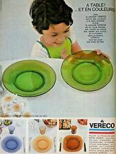 PUBLICITÉ DE PRESSE 1968 VAISSELLE VERECO A TABLE ET EN COULEURS