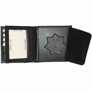 Badge Police Cut Out ID Holder Wallet Genuine Leather Black Star Shape Security