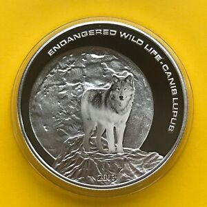 Mongolia Silver coin 500 Togrog  2003  25 g  WOLF Proof