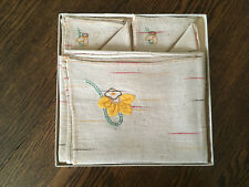 Vintage 5 Piece Linen Bridge Table Set by Progress Creation in box