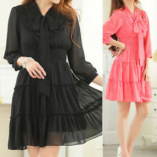Women Ladies Casual Party Tiered Dress 3/4 Sleeve UK Size 10 12 14 16 18 #8289