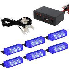 6 X 3 LED Emergency Warning Car Auto Boat Grill Bar Police Strobe Light Blue 12V
